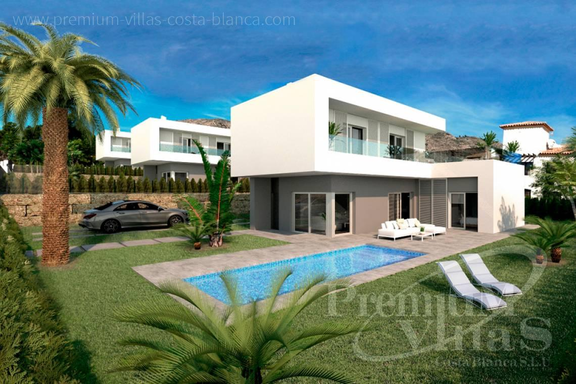 Buy villas houses bungalows Benidorm Finestrat Costa Blanca - C2160 - Modern 3 bedroom villas close to the golf course and with sea views. 1